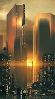 Silhouettes Of Future City Mobile HD Wallpaper