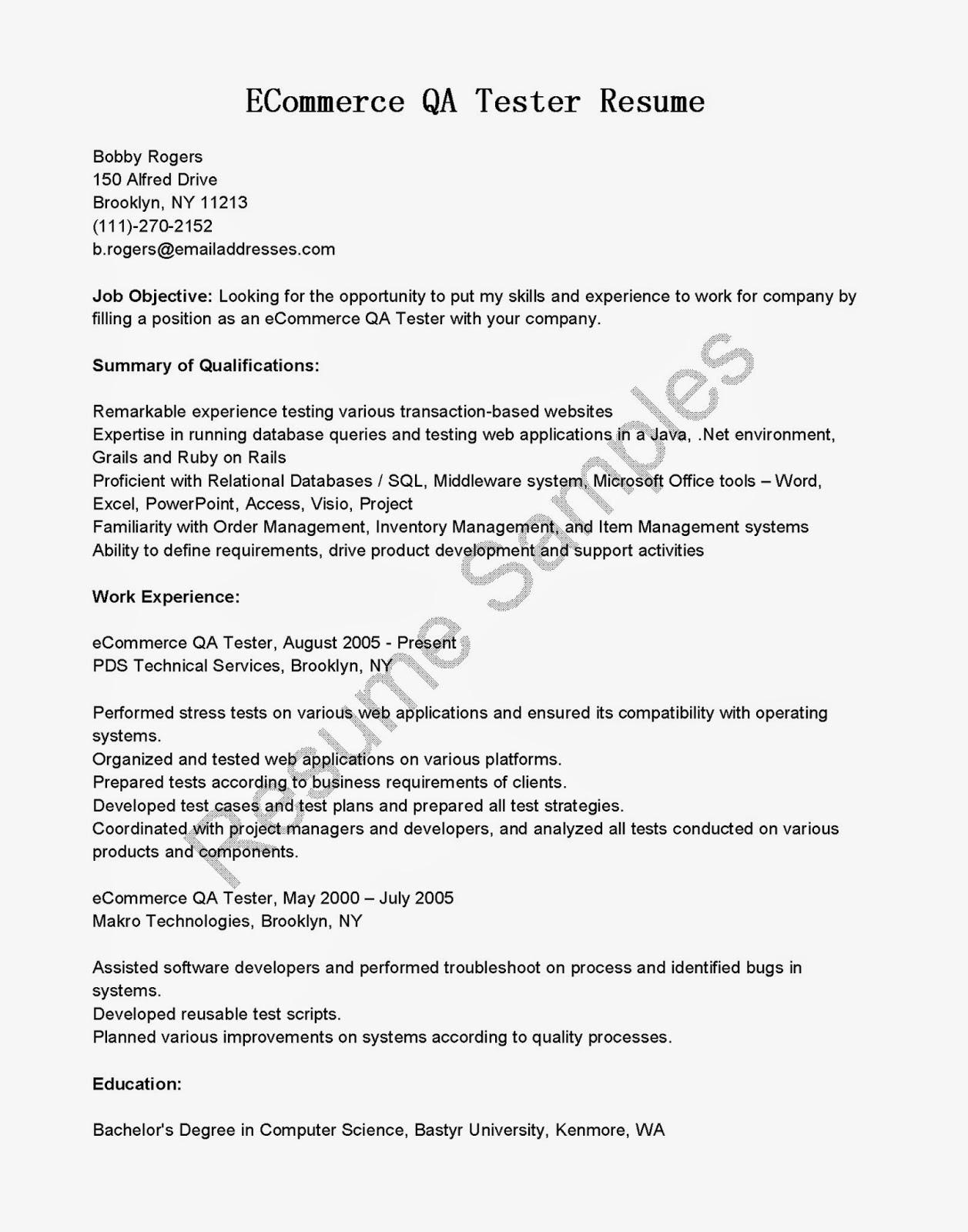 resume samples  ecommerce qa tester resume