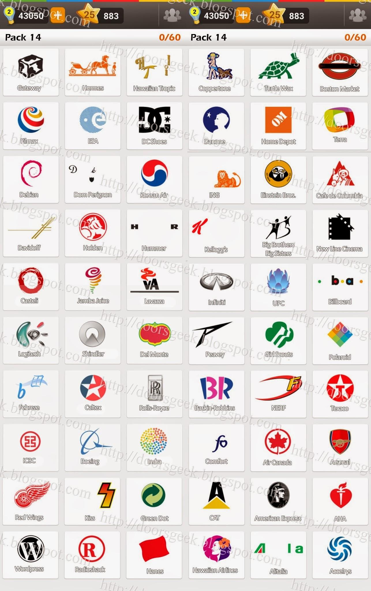 Logo Game: Guess the Brand [Regular] Pack 14 ~ Doors Geek