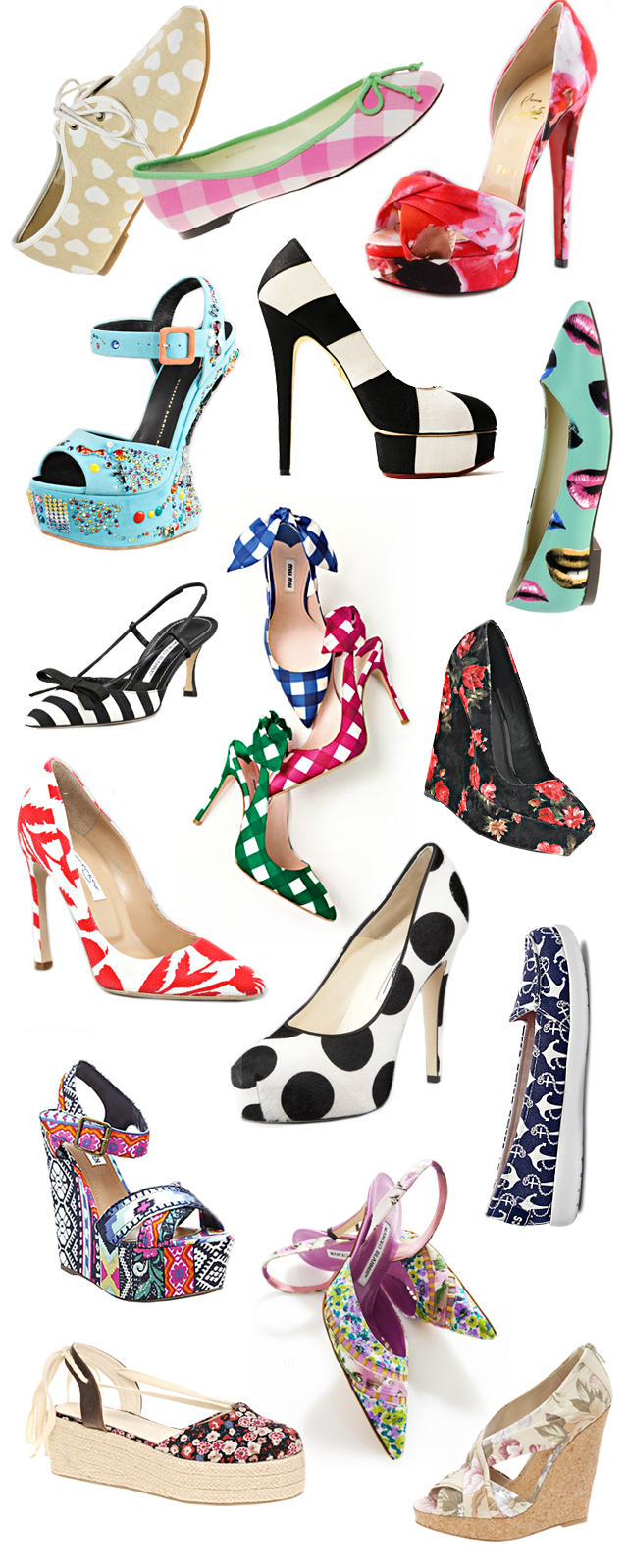 spring shoes, printed, striped, floral shoes