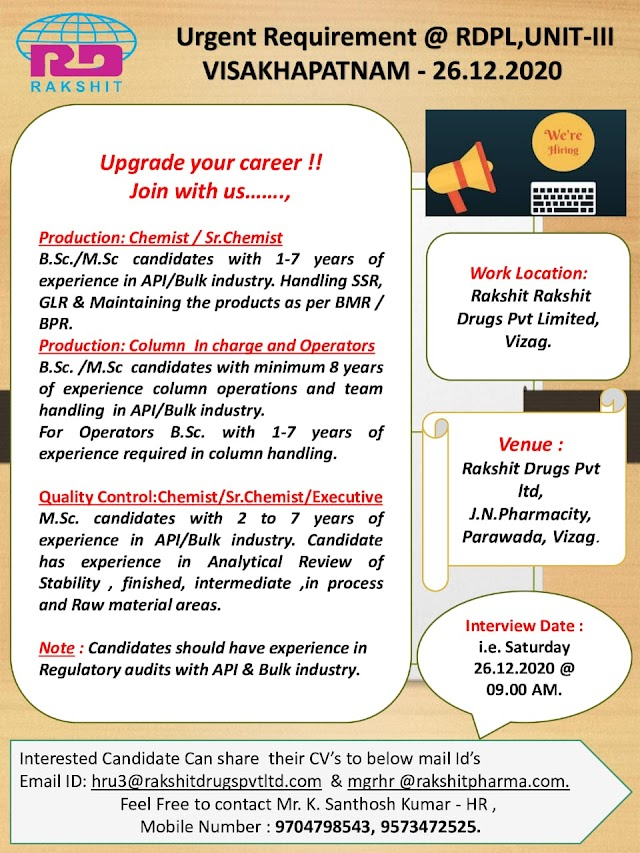 Rakshit Pharma | Walk-in interview for Production/QC on 26th Dec 2020