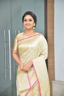 Keerthy Suresh in Saree with Cute Smile in Pandem Kodi 2 Audio Launch 3