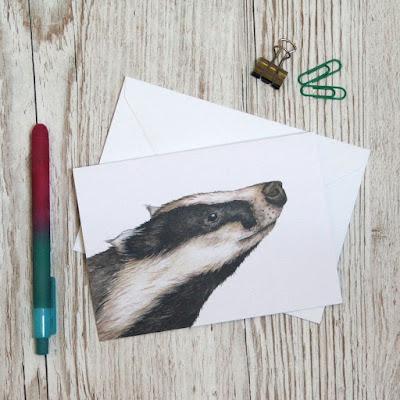 Watercolour badger greetings card