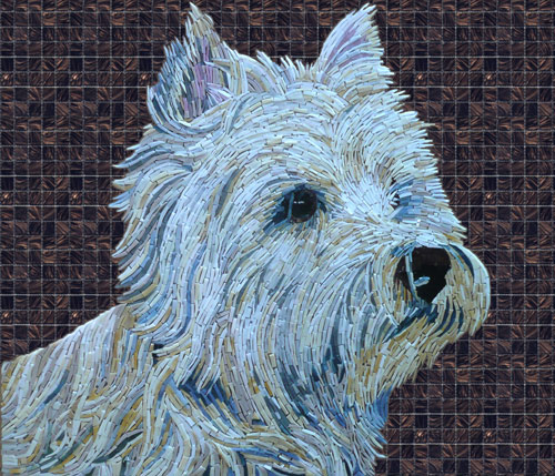 Arte con perros en mosaicos
