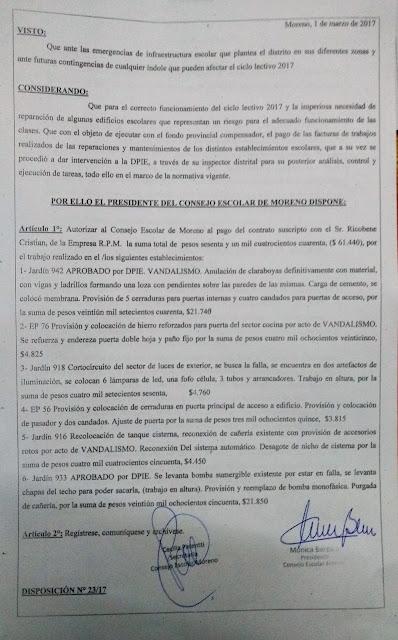 Disposición N° 23/17: Autorización de pago a la empresa RPM por trabajos realizados en Jardin 942, EP 76, Jardin 918, EP 56, Jardin 916 y Jardin 933