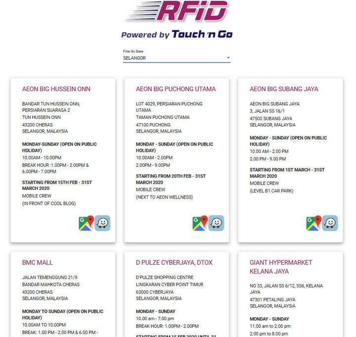 Senarai tempat pemasangan RFID di Selangor