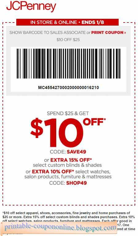 Each offer good in store and at milionerweb.tk, excluding taxes and shipping charges, 12/5//19/ One use per coupon, one coupon per customer; must be provided/surrendered at time of purchase. Dollar-off offers (including JCPenney Rewards) applied prior to companywide percent-off discounts or coupons.