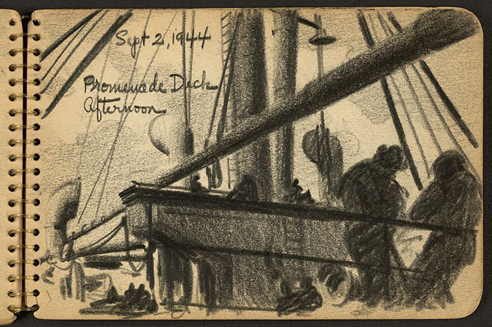 21-Year-Old WWII Soldier's Sketchbooks Show War Through The Eyes Of An Architect - Soldiers On Deck Of Ship