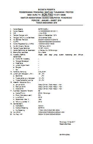 Download Biodata Pemberkasan Peserta Pencairan Bantuan Tunjangan Profesi Non PNS Guru TK | Contoh