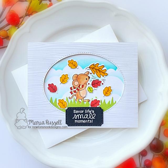 Savor Life's Small Moments Card by Maria Russell | Autumn Mice Stamp Set by Newton's Nook Designs #newtonsnook