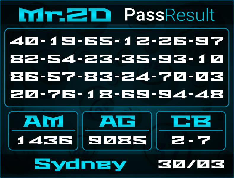 Prediksi Mr.2D | PassResult - Selasa, 30 Maret 2021 - Prediksi Togel Sydney