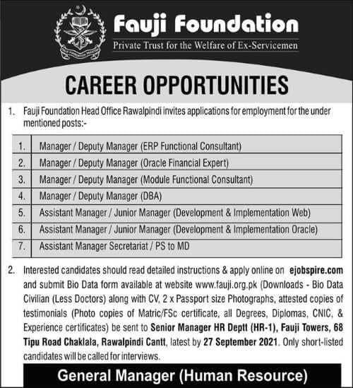 Fauji Foundation jobs 2021