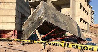 إصابة 5 عمال نتيجة لسقوط سقالة من الطابق الخامس في إلازيغ (فيديو)