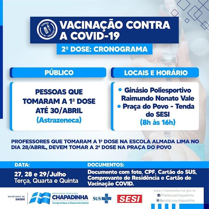 Prefeitura de Chapadinha Informa sobre cronograma de vacinação de segunda dose D(2) contra a Covid-19