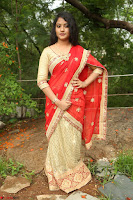 Akshara in Red Saree Golden Choli at LV Movie Makers Production No 1 Movie Opening ~  Exclusive 078.JPG