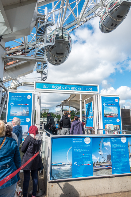 Get your tickets to the London Eye at the Boat Ticket Sales Booth - no line!!