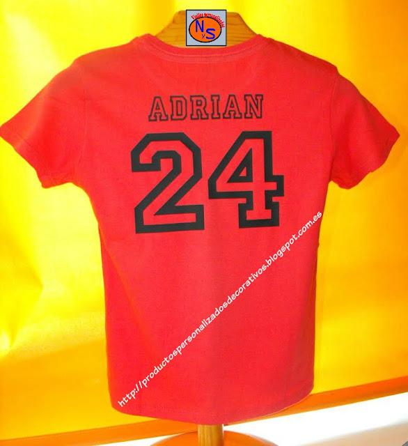 Camisetas nombre y numero en vinilo textil