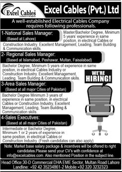 Excel Cables Pvt Lahore Jobs