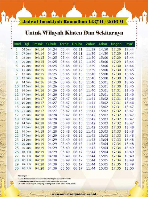 Jadwal Imsakiyah Ramadhan 1437 H / 2016 M Untuk Kota Klaten