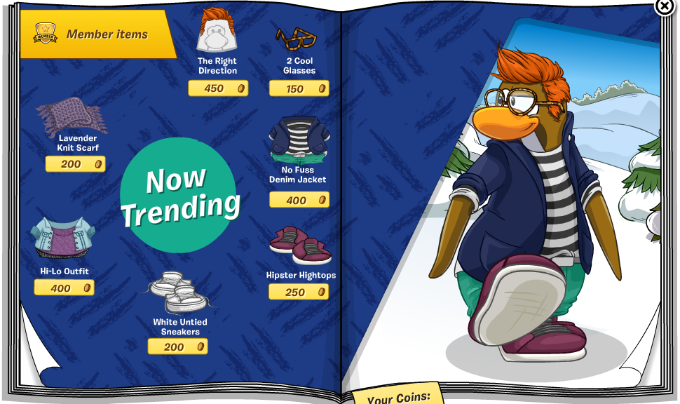 59071b6c ... No Fuss Denim Jacket, Lavender Scarf, and Hipster (I was right!)  Hightops. Click the penguins shoe for the first cheat which is the Black  Shoulder Bag.