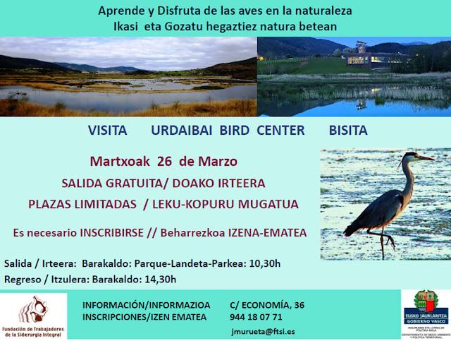 Cartel de la excursión para ver aves en Urdaibai