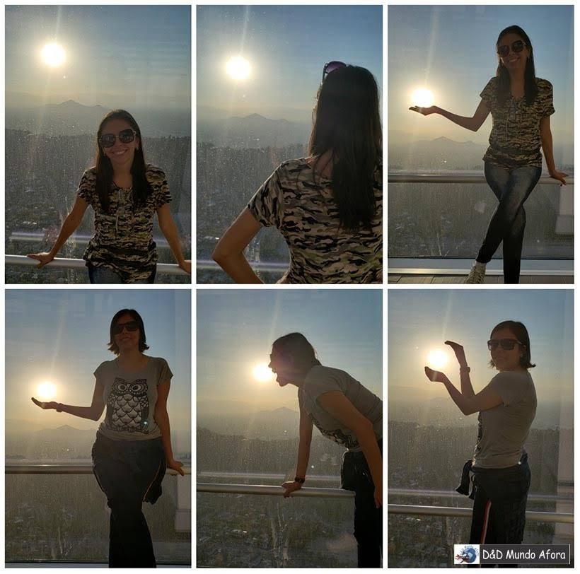 Vendo o Pôr do Sol no Sky Costanera em Santiago, Chile