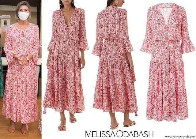 Princess Caroline wore a red tile-print bell sleeve maxi dress by Melissa Odabash