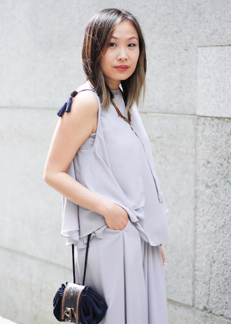 How to Look Sophisticated Gray Two-Piece