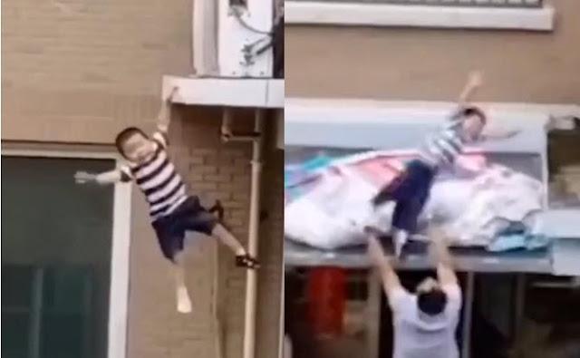Bé trai 2 tuổi rơi lộn nhào từ tầng 4 chung cư xuống được người hùng cứu sống bằng tay không