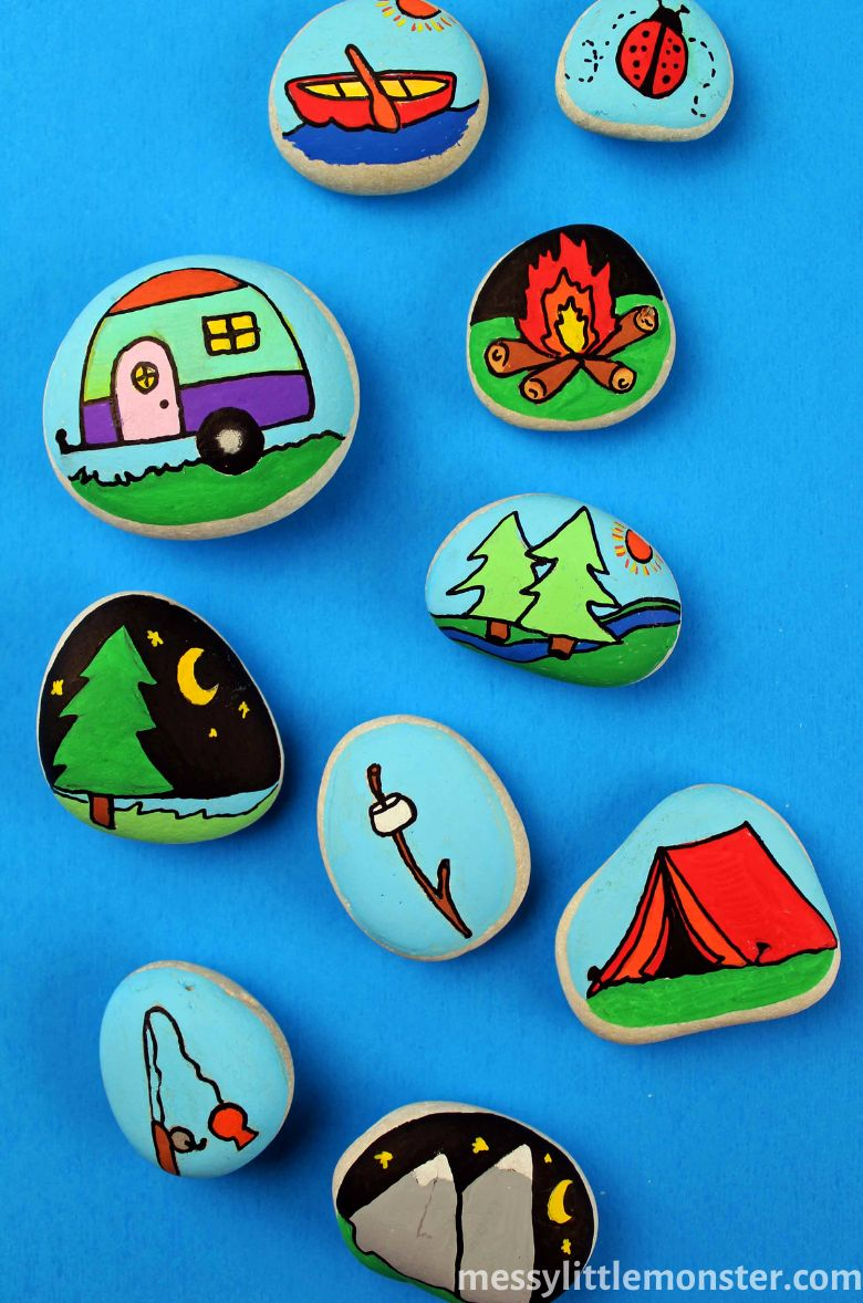 Camping themed painted rocks for summer camp.
