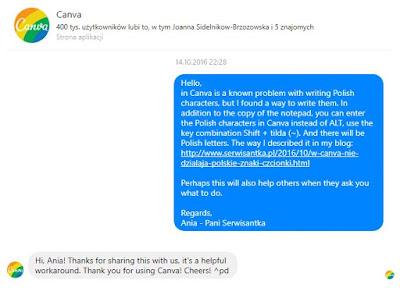 W Canva nie działają polskie litery support