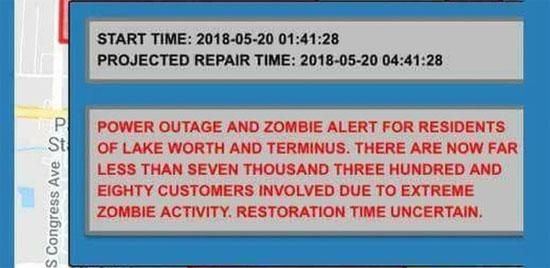 Mensagem atividade zumbi Lake Worth USA