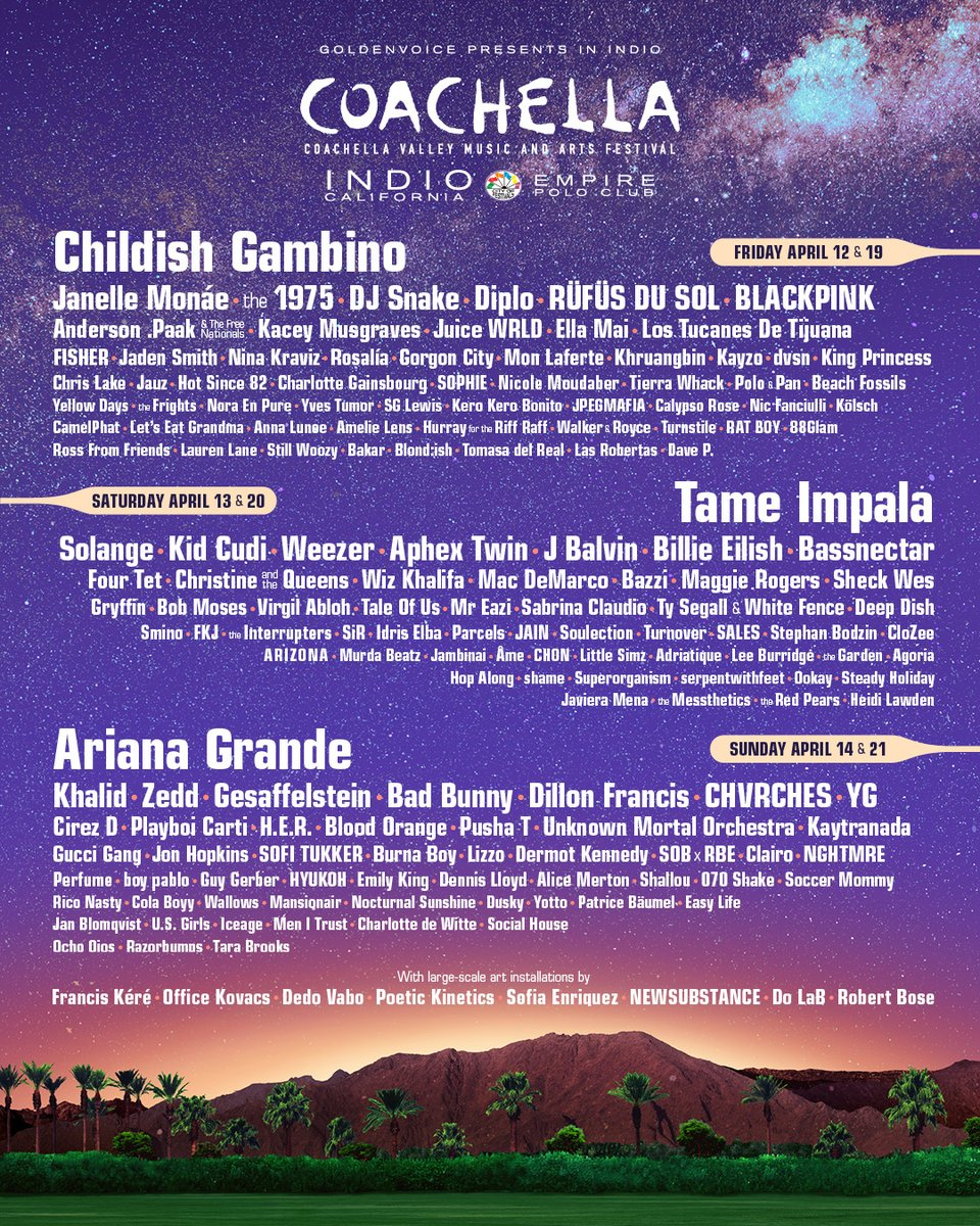 Coachella 2019: Full Lineup Announced