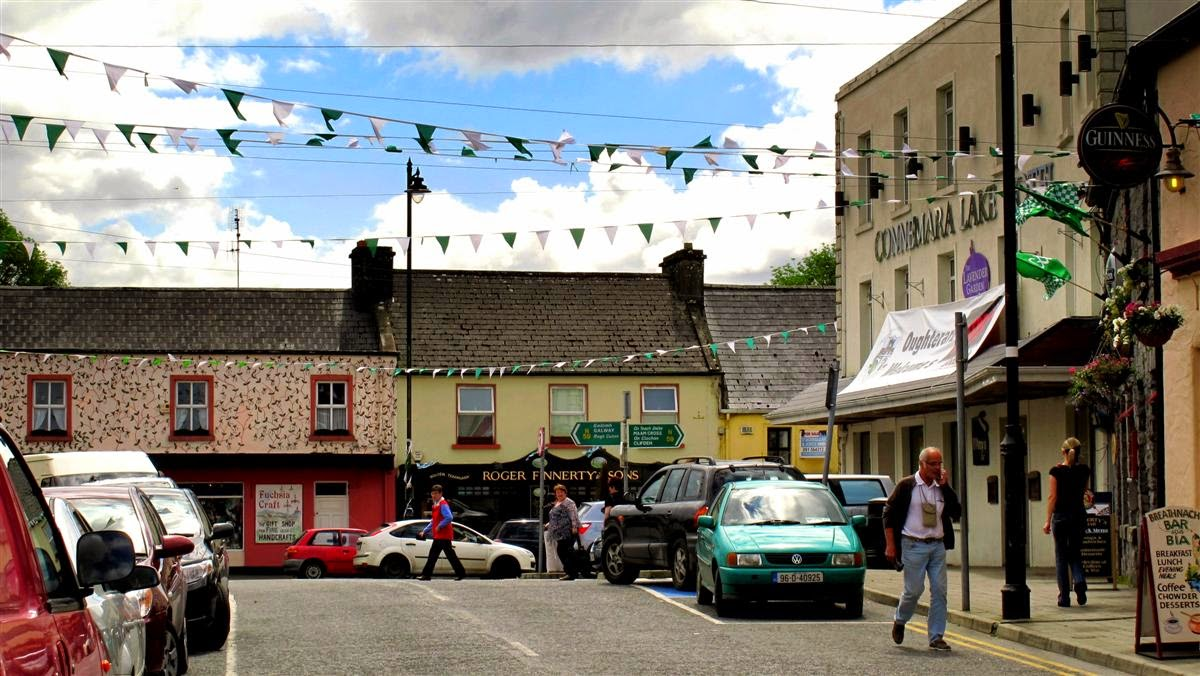 Oughterard, main street, houses, cars, people, tourists,