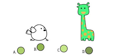 Alt 1 Q 11. Color bird wonders what the giraffe's two colors mixed together would look like. Which berry shows that combination?