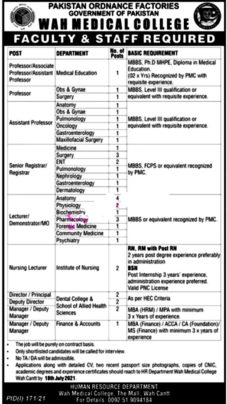 Latest Jobs in Pakistan Ordnance  Factories POF 2021