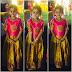 Cute Kid in Golden Ikkat Silk Lehenga