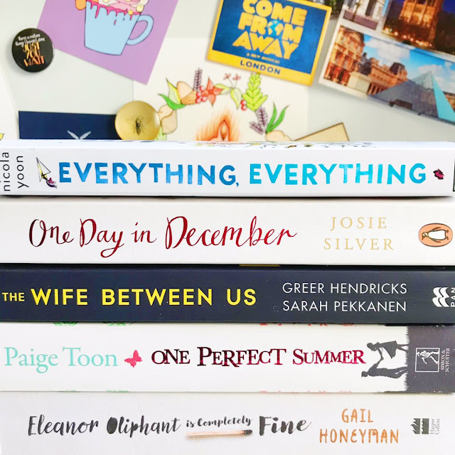 stack of books - Everything Everything, One Day In December, The Wife Between Us, One Perfect Summer, Eleanor Oliphant Is Completely Fine