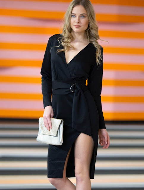 Long Sleeve Midi Dress Heather black