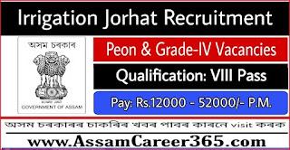 Irrigation Jorhat Recruitment 2021 - 4 Peon And Grade-IV Vacancy
