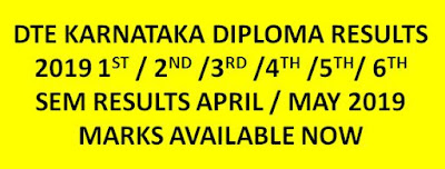 (Available) DTE Karnataka Diploma Results 2019 for 1st ,2nd,3rd,4th,5th,6th sem 1