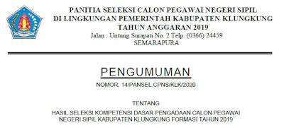 Pengumuman SKD CPNS Kabupaten Klungkung 2019