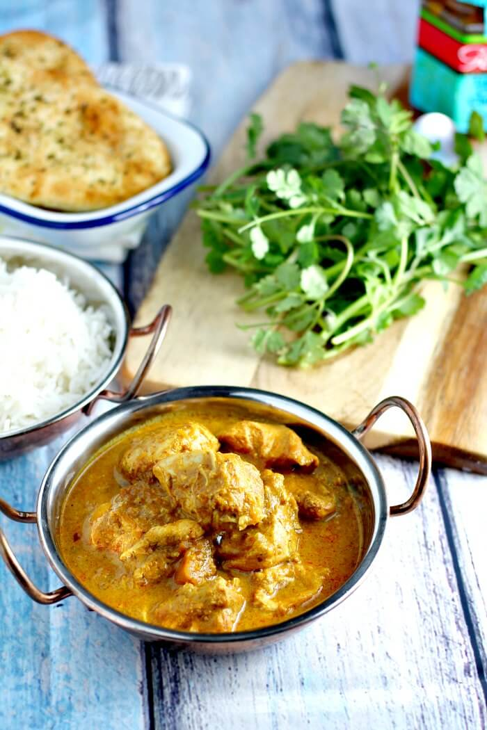 Close up of slow cooker chicken korma