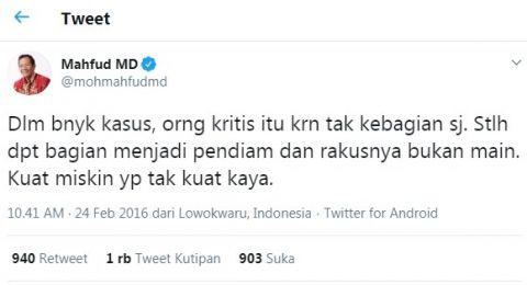 Cuitan Lama Mahfud Diungkit Netizen: Bapak Kritis Gak? Jika Gak Berarti...