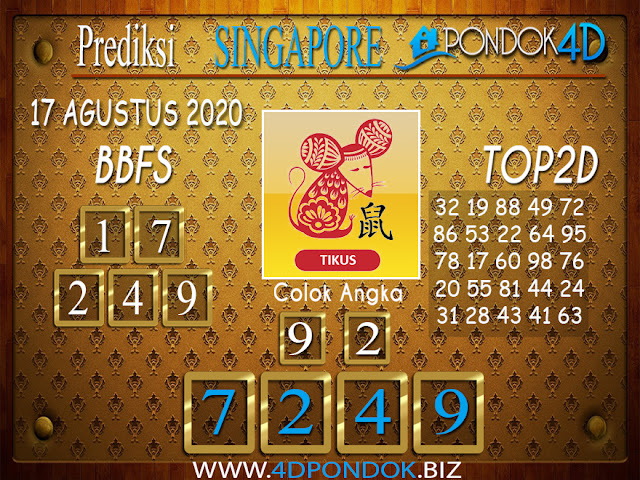 Prediksi Togel SINGAPORE PONDOK4D 17 AGUSTUS 2020