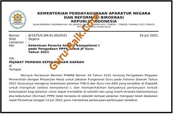 gambar Ketentuan Peserta Seleksi Kompetensi I pada Pengadaan PPPK untuk Jabatan Fungsional (JF) Guru Tahun 2021