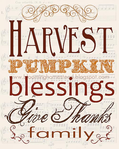 Harvest Printable from Blooming Homestead.