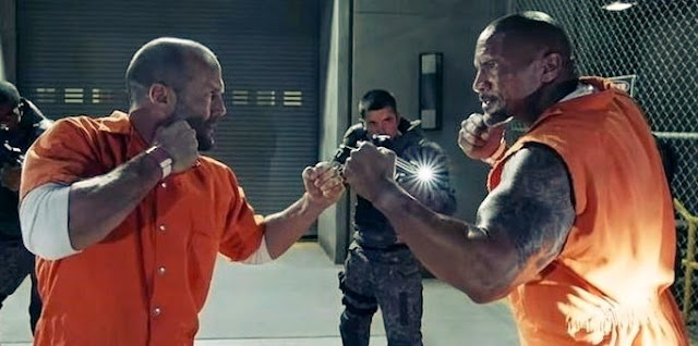 the rock and Jason Statham on fight ground