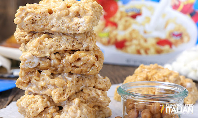 Salted Caramel Rice Krispie Treats close up