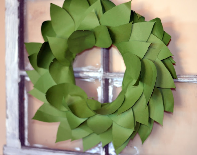 magnolia wreath made from card stock cut on the silhouette cameo